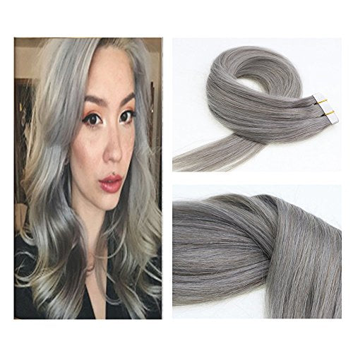Vario Hair Tape In Real Human Hair Extensions Silk Straight Skin Weft Extensions 100% Human Hair (20Inch 50G/20Pcs #Silver Gray)