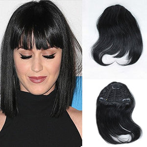 Topfeeling Natural Color Brazilian Human Hair Bangs Clip On Real Hair Short Straight Hair Extension For Women