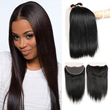 Morichy 7A Peruvian Straight Hair 3 Bundles With Frontal Closure (134) 100% Unprocessed Peruvian Silky Straight Weave Human Hair Extensions 3 Pcs With Full Lace Frontal,Natural Color (14 16 18+12)