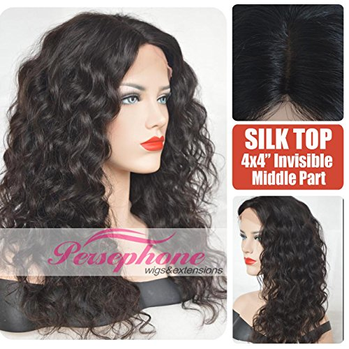 Cheap Curly Human Hair Wigs Silk Top For Black Women Invisible Part Natural Looking Middle Part Brazilian Best Remy Silk Base Human Lace Front Wig African Americans With Baby Hair 130% 14 Inches #1B