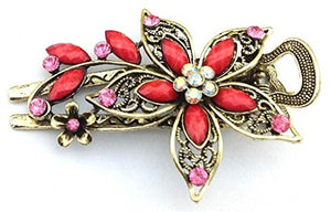 Vwhite Womens Flower Crystal Hair Clips Barrettes Hair Accessories Red