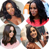 Udu Hair Short Wigs For Black Women 12 Inch Brazilian Virgin Human Hair Bob Wig Middle Part Short Human Hair Wigs 130% Density With Strape Natural Black
