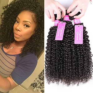 Original Queen 100% Brazilian Unprocessed Virgin Kinky Curly Human Hair Weave 3 Bundles Deep Curly Hair Extensions Mixed Length 14 14 14Inches