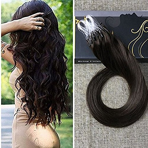 Ugeat 20Inch 50G 1G/S Micro Rings Loop Hair Extensions Darkest Brown Remy Micro Ring Hair Extension 50Strands Micro Ring Human Hair Extensions