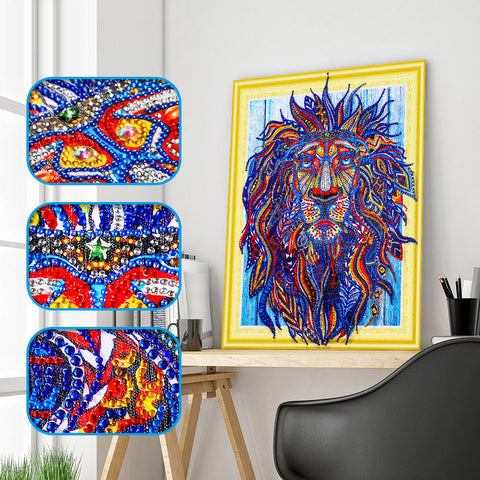 REF072- KIT PEINTURE DIAMANT - BRODERIE 3D 5D - SPECIAL SHAPED - LION PRIMAIRE