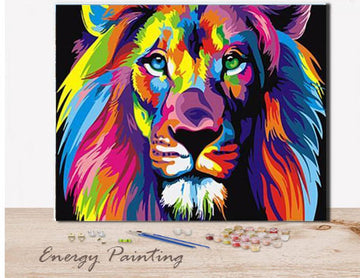 REF002 - PEINTURE PAR NUMEROS - KIT DIY - LE LION MULTICOLOR
