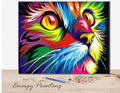 REF014 - PEINTURE PAR NUMEROS - KIT DIY - LE CHAT MULTICOLOR