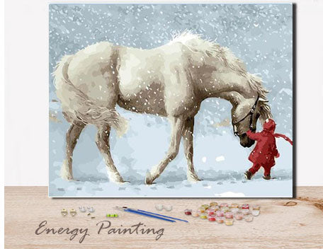 REF081-ENERGY-PAINTING-PEINTURE-PAR-NUMERO-FILETTE-ET-SON-CHEVAL-BLANC
