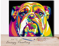 REF120 - PEINTURE PAR NUMEROS - KIT DIY - BOULEDOGUE MULTICOLOR (40x50CM)