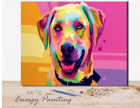 REF261-ENERGY-PAINTING-PEINTURE-PAR-NUMERO-GOLDEN-RETREIVER-POP-ART