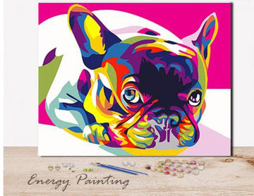 REF314 - PEINTURE PAR NUMEROS - KIT DIY - BOULEDOGUE FRANCAIS POP ART