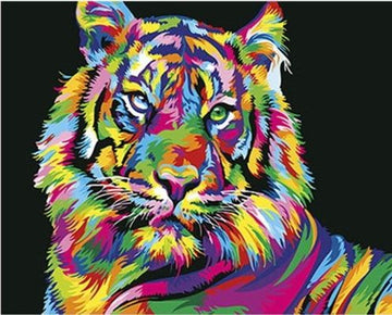 REF187 - PEINTURE PAR NUMEROS - KIT DIY - TIGRE POP ART