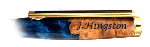 personalised wood and resin pen