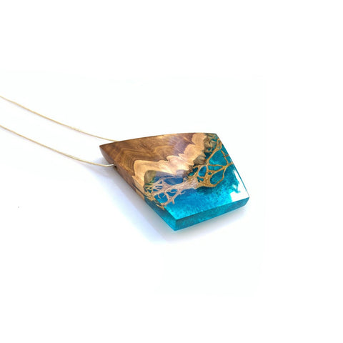 Wood and resin necklace pendant