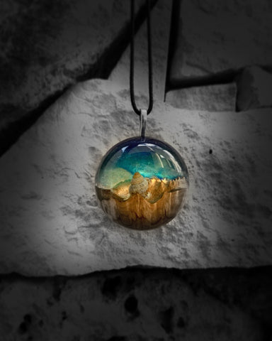Handmade wood and resin necklace pendant