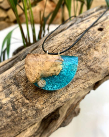 Wood and Resin Handmade necklace pendant
