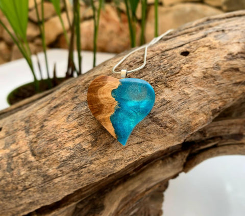 Wooden heart necklace - wood and resin pendant - handmade boho-chic style necklace
