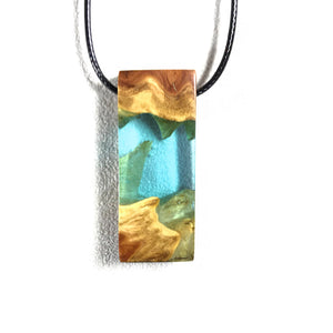 Ocean Star - Lagoon - Quadrant - Resin Jewelry -  Necklace - Wearable Wood