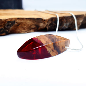 Olive wood and red resin