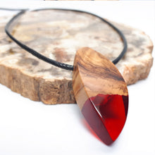 Load image into Gallery viewer, Wood and resin necklace with Black cord