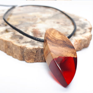 Wood and resin necklace with Black cord