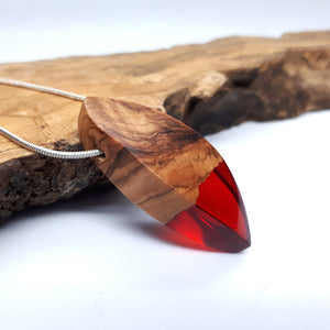 Wood and resin necklace with silver chain