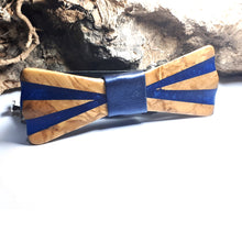 Load image into Gallery viewer, Olive Wood Blue Resin Bow Tie