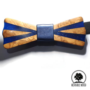 Olive Wood Blue Resin Bow Tie