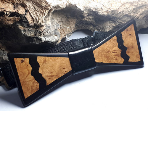 Olive Wood Black Resin Bow Tie - Wearable Wood