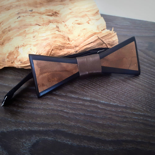 Olive wood and Black resin bow-tie