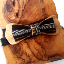 Load image into Gallery viewer, Wooden bow-tie with Black fabric