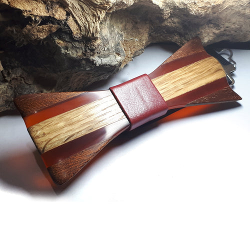 Ash-wood Mahogany Orange Resin Bow Tie - Wearable Wood