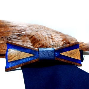 Olive Wood Blue Resin Bow Tie - Wearable Wood