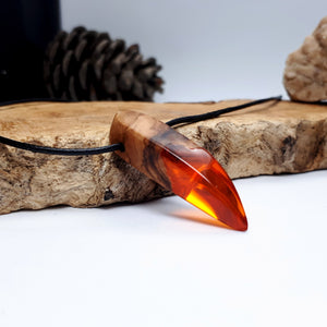 AUTUMN LEAF - Outcast - Olive Wood - Resin Necklace - Jewelry - Wearable Wood