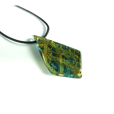 OCEAN BLUE - Dart - Cactus Fiber Resin Necklace - Handmade Jewelry