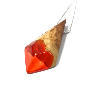 AUTUMN LEAF - Dart - Red Mallee Wood - Resin Jewelry - Necklace