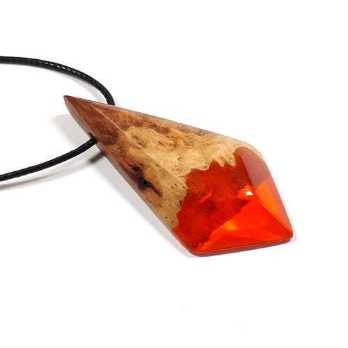 AUTUMN LEAF - Dart - Red Mallee Wood - Resin Jewelry - Necklace - Wearable Wood
