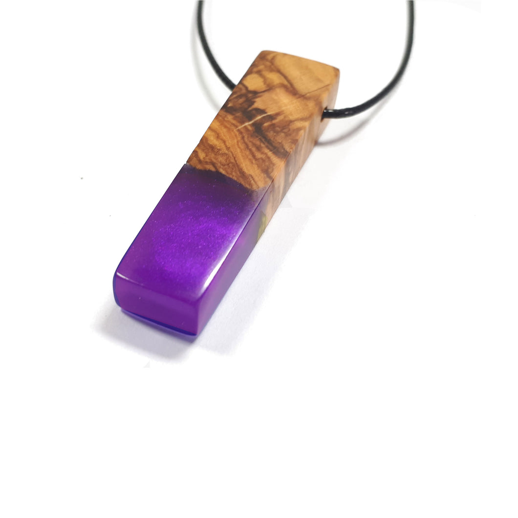 MYSTIQUE - Quadrant - Olive Wood Resin Pendant - Wearable Wood