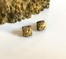 Load image into Gallery viewer, Minimalist Black and Gold Druzy Square Stud Earrings- Obsidian Black Resin Pins - Indie Style Jewelry Geode - Wearable Wood