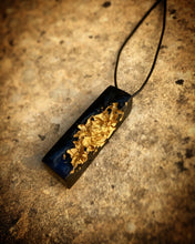 Load image into Gallery viewer, Minimalist Black and Gold Geode Druzy Pendant - Obsidian Black Resin Necklace - Indie Style Jewelry - Wearable Wood