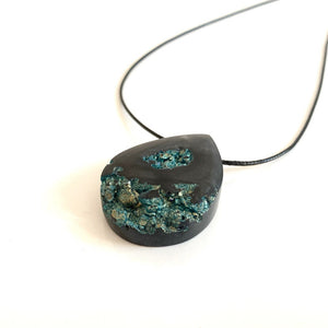 Geode Jewelry - Minimalist Black, Cobalt Blue and Gold Druzy Pendant - Obsidian Black Resin Necklace - Indie Style Jewelry - Wearable Wood