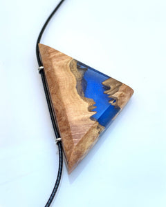 Triangle Wood Resin Necklace - Resin Jewelry - Triangular Wooden Pendant - Indie Necklace - Wooden Gift Pendant - Bois résine Bijoux - Ocean Star Triad Necklace - Wearable Wood