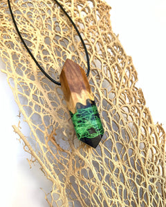 Night Owl | Black Resin Green Cactus Fiber Necklace | Cactus Lace Fiber Pendant
