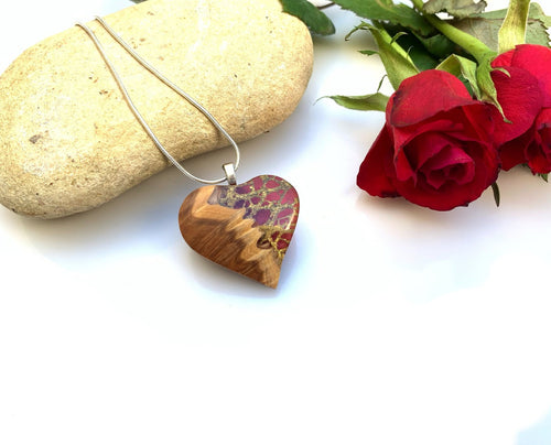 Heart | Resin Wood Pendant | Blood Nile Wooden Heart Necklace | Bridesmaid Handmade Gift | Mothers Day | Valentines