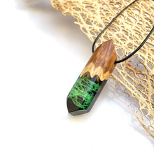 Load image into Gallery viewer, Night Owl | Black Resin Green Cactus Fiber Necklace | Cactus Lace Fiber Pendant