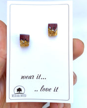 Load image into Gallery viewer, Clear Resin Stud Earrings Gold Flakes - Purpleheart Amaranth Wood Jewelry - Resin Jewelry - Square Earrings Resin Wood Pendant - Wood Epoxy - Wearable Wood