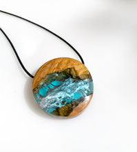 Load image into Gallery viewer, Boho Wood and Resin Jewelry - Round Surfer Necklace - Cactus Leaf Pendant - Ocean Star - Wearable Wood