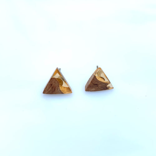 Small Resin Stud Earrings - Wooden Jewelry - Peach Orange Resin earrings - Triangle Earring Resin Wood Pendant - Wood and Resin - Wood Epoxy - Autumn Leaf - Wearable Wood