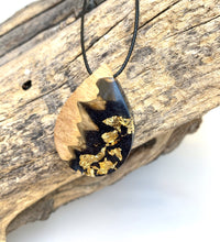 Load image into Gallery viewer, Black Gold Flake Wood Resin Necklace - Wood Resin Jewelry Pendant - Cactus Necklace - Bois résine Bijoux - Wearable Wood