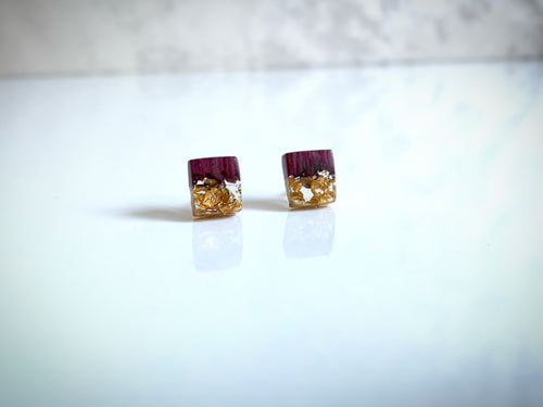Clear Resin Stud Earrings Gold Flakes - Purpleheart Amaranth Wood Jewelry - Resin Jewelry - Square Earrings Resin Wood Pendant - Wood Epoxy - Wearable Wood